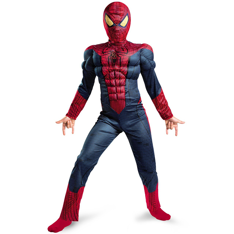 Til salg Child Boy Amazing Spiderman Movie Character Classic Muscle Marvel Fantasy Superhero Halloween Carnival Party Costume