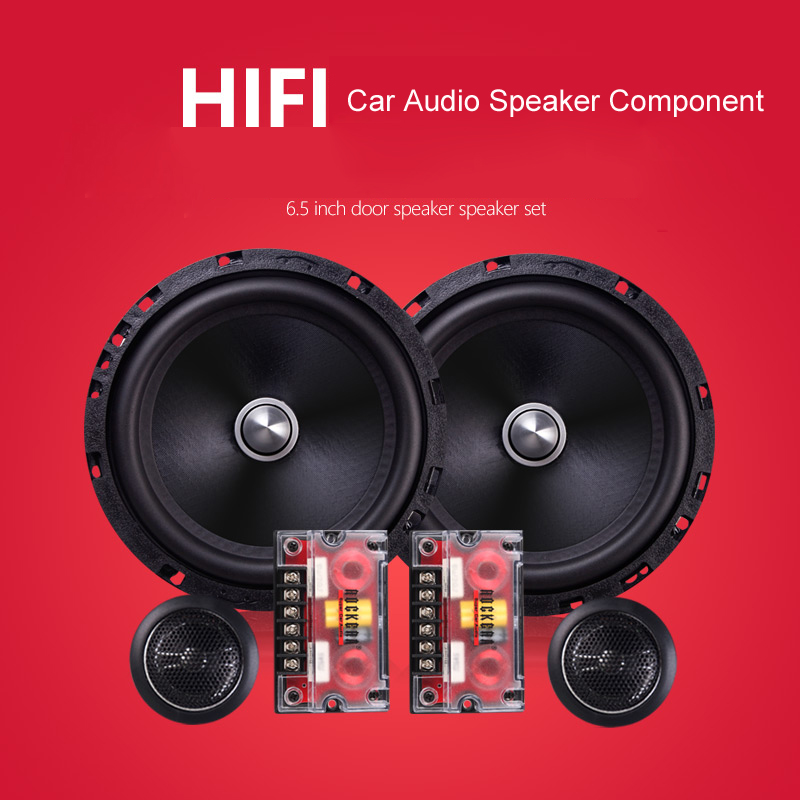 Car Front door Speaker Component 6.5 inch 4ohm Dome Tweeter Cross Over 2 Way HIFI Car Speaker Set Compound Audio Speaker 6.5 hifine hi 520d 28mm tweeter component speaker for car audio system black pair