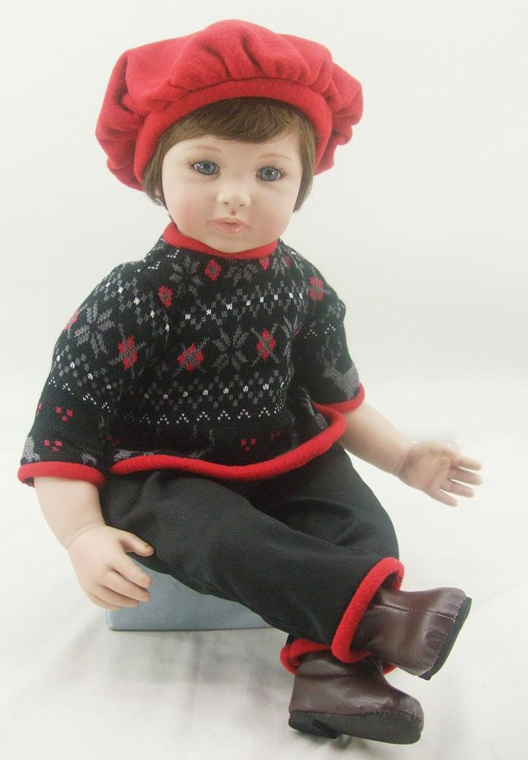 Pursue 24/60 cm Handmade Adorable Vinyl Silicone Reborn Baby Girl Boy Doll Toys with Beautiful Red Warm Baby Hat Doll Toys Gift pursue 24 60 cm handmade crochet sweater hat vinyl silicone reborn toddler prince baby girl boy doll toys for children girl boy