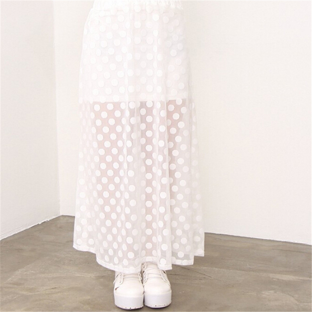 Skirts Womens Summer Elastic High Waist Fashion Skirt Long A Line Skirt Polka Dot Casual Long Maxi Skirt