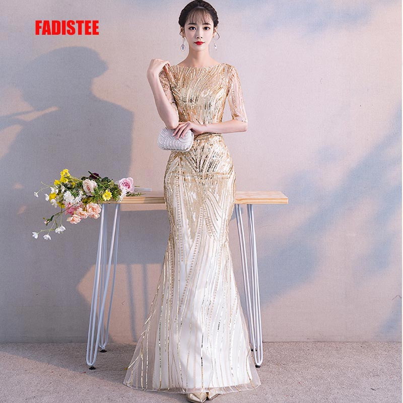 FADISTEE New Arrival Bling Party Dresses Evening Dress Vestido De Festa Luxury Gold Sequins Half Sleeves Prom Lace Long Style