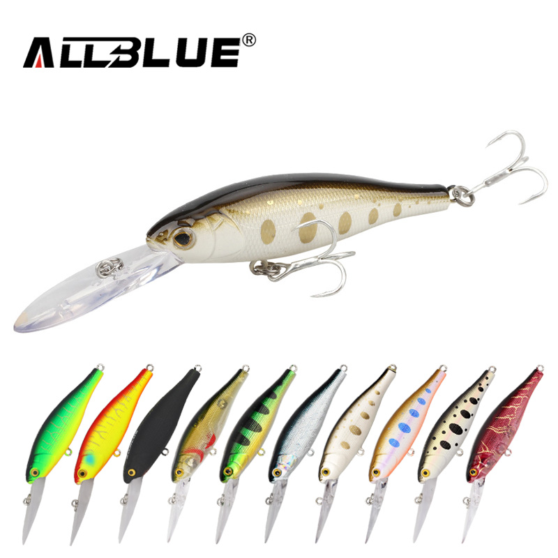ALLBLUE Floating Fishing Lures Shad Minnow 60mm 7.3g Artificial Bait 2.5M Plastic 3D Eyes Wobbler Bass Lure Fishing Tackle peche цена