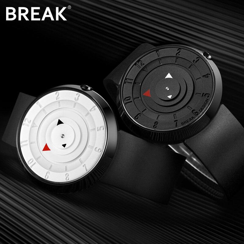 Break Top Men's Women Unisex Fashion Casual Sports Analog Quartz Wristwatch Creative Special Rubber Strap Watches Gift for Men