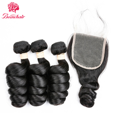 Beauhair 4pcs/lot Indian Loose Wave 3 Bundles With Closure 100% Human Hair With Closure Non-Remy Hair Weave Extensions