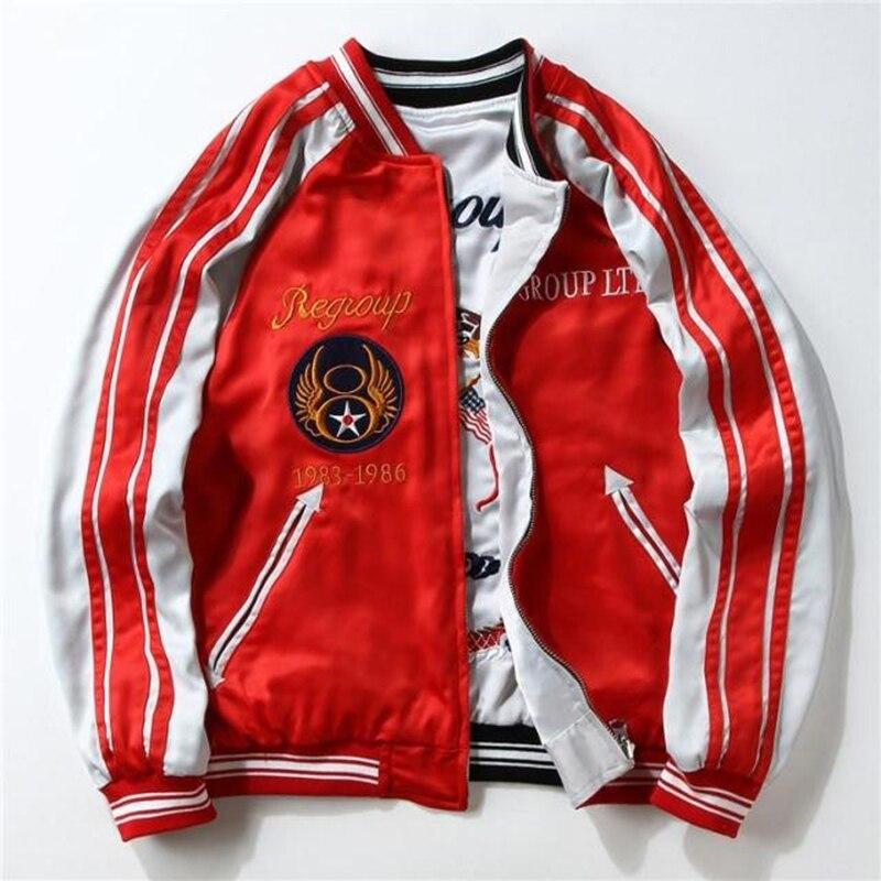 Livraison directe broderie aigle deux côtés Bomber manteau Souvenir veste hommes Sukajan fairy suka Streetwear Hip Hop Baseball veste