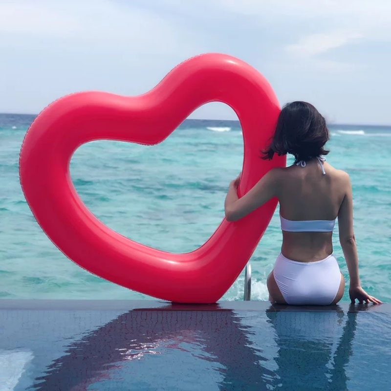 Giant Inflatable Heart Love Swimming Ring Transparent Glitter Summer Party Pool Float Mattress Toys Beach Party Kid Adult Gift in Swimming Rings from Sports Entertainment