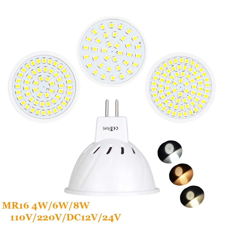 MR16 DC 12V 24V LED Bulbs Light 220V SMD 2835 Led Spotlights 4W 6W 8W Warm / Cool White / White MR 16 Base LED Lamp For Home