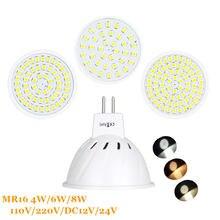 Mr16 dc 12 v 24 v lâmpadas led luz 220 v smd 2835 led holofotes 4 w 6 w 8 w morno/fresco branco/branco mr 16 base conduziu a lâmpada para casa