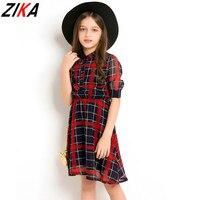 ZIKA גדול בנות משובצות שמלות ילדי פוליאסטר תחפושת שרוול קצר בני נוער בנות Vestidos שיפון אדום שמלת ילדי בגדים 6-15 T