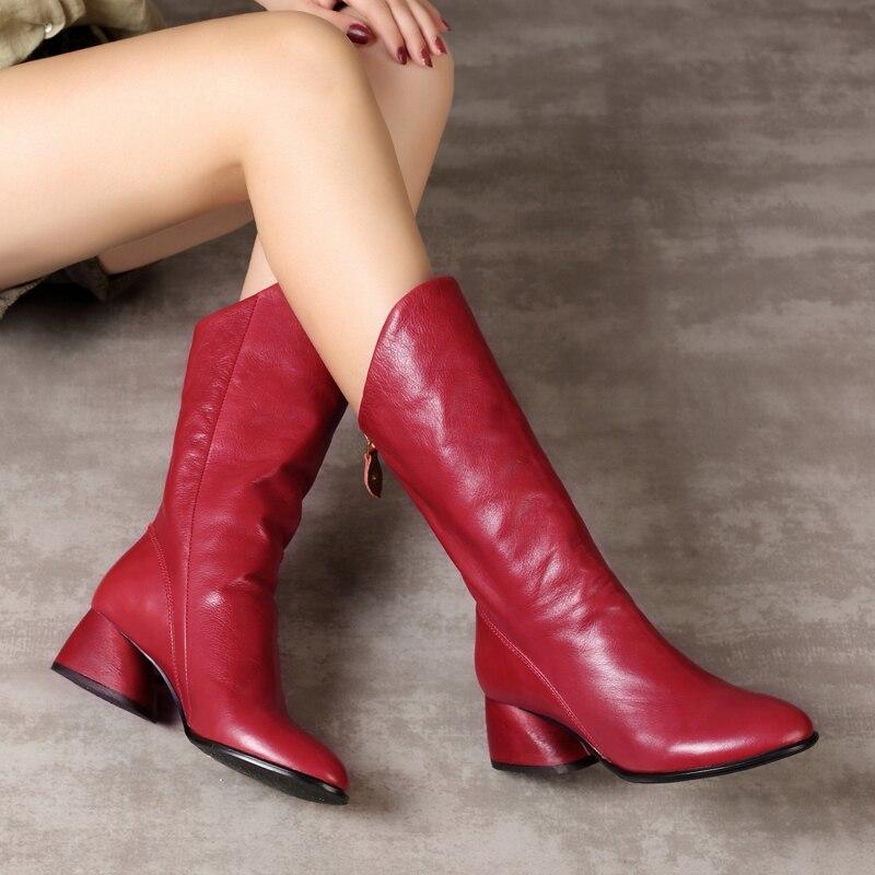 VALLU Vachette Souple En Cuir Véritable Femmes Mi-mollet Bottes Glissière au Dos À La Main Vintage 2018 Automne Hiver Chaussures Dames Bottes