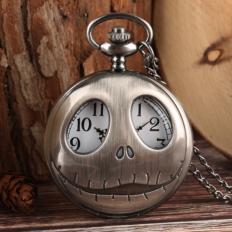 Tim Burton The Nightmare Before Christmas Quartz Pocket Watch Retro Frog Big Eyes Jack Skellington Necklace Pendant Skull Watch(China)