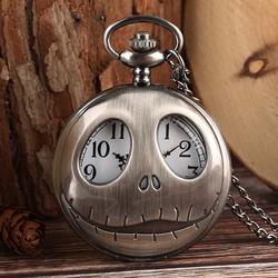 Тим Бертон кошмар перед Рождество кварцевые карманные часы ретро лягушка большие глаза Джек Скеллингтон ожерелье кулон череп часы