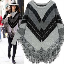 new Europe style office lady o-neck cute woman knit sweater long sleeve elegant cloak tassel geometric female