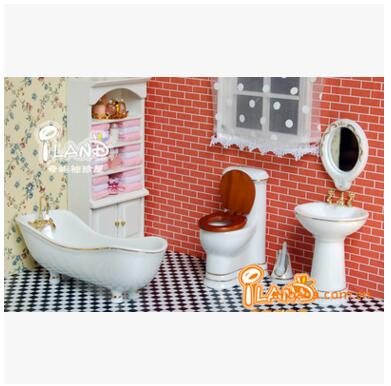 Free Shipping,5Pcs Baby room bathroom scene Dollhouse Miniature 1:12 Scale Classic Toys for Kids Scale Models