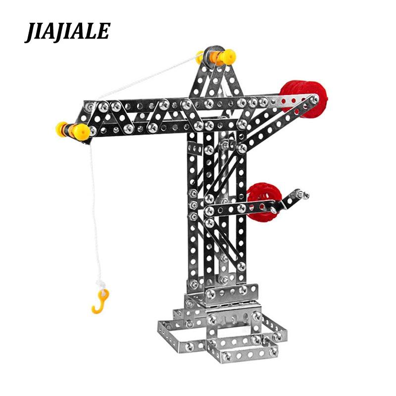 JIAJIALE Vehicle Metal Model Building Kits Puzzle Crane Tower Enlighten Education Assemblage Toys VS 3d metal model kits