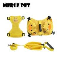 MERLE Hond Harness Vest Rugzak Kleren Zomer Leuke Gele Eend Cartoon Verstelbare Shirts Voor Kleine Honden Puppy Medium A07015