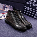 New 2017 High Top Men Shoes Winter Cow Leather Men Casual Shoes Fashion Zapatos Hombre Warm Crocodile Pattern Black Mens
