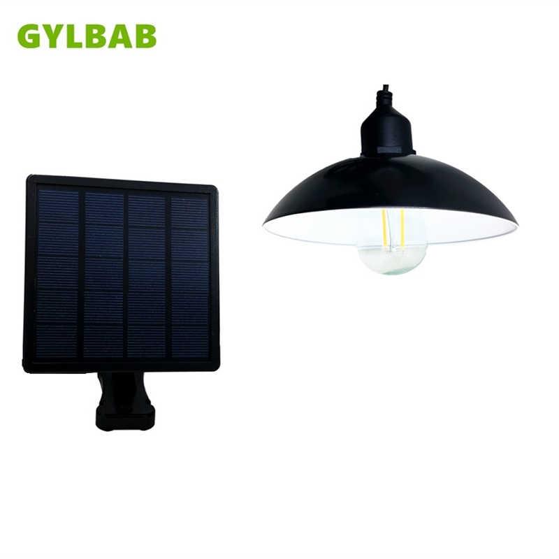 En GYLBAB lámpara led alimentada por energía Solar lámpara de techo retro colgante bombilla con sombra e27 bombilla edison al aire libre