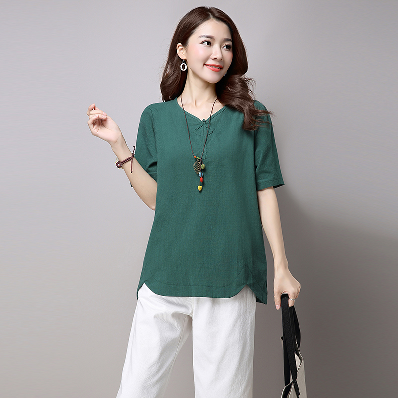 Summer Vintage V neck Short Sleeve Shirt Women Camisas Femininas Female Tops Fashion Cotton Linen Shirts Plus Size in T Shirts from Women 39 s Clothing