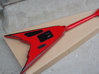 Factory Wholesale White Body Flying V Electric Guitar whit Black Stripes,Gold Hardwares,Floyd Rose,Offer Customized