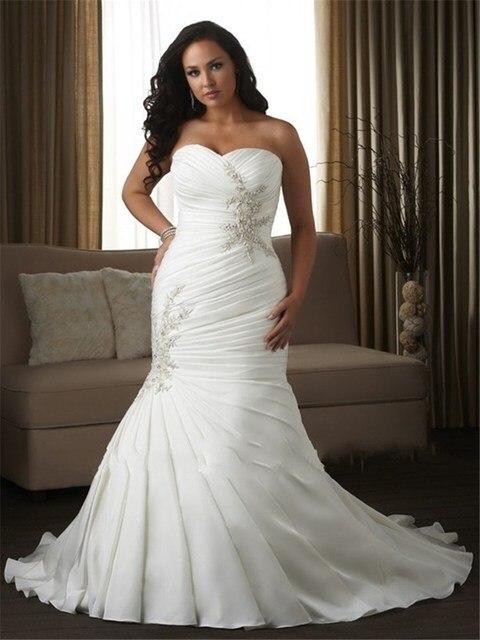 Sweetheart Appliqued Beautiful Pattern Vestido De Noiva US2-26W Plus Size  Wedding Dress Lace Up 437c23ca4fe3
