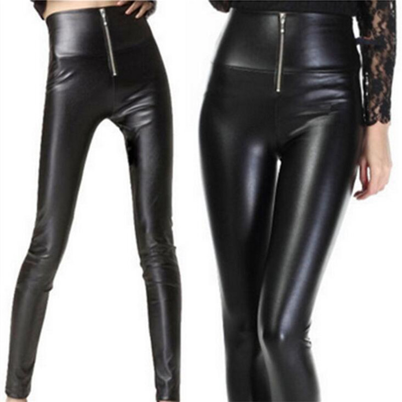 WKOUD Spring PU Leather Legging For Women High Waist Leggings With Zip 2019 Solid Black Streetpants Skinny Pants P8732