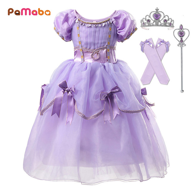 PaMaBa Princess Sofia the First Role Playing Cosplay Gown for Girls  Birthday Fantasy Christmas Carnival Costume Kids Party Dress 53510d5185e2
