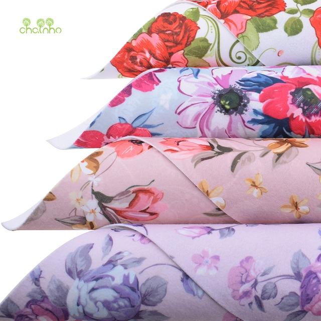 Tela de fieltro suave Floral Chainho, tela no tejida de fieltro de poliéster impresa, para decoración del hogar o costura muñecas y artesanías, 40 cm x 45 cm/pieza