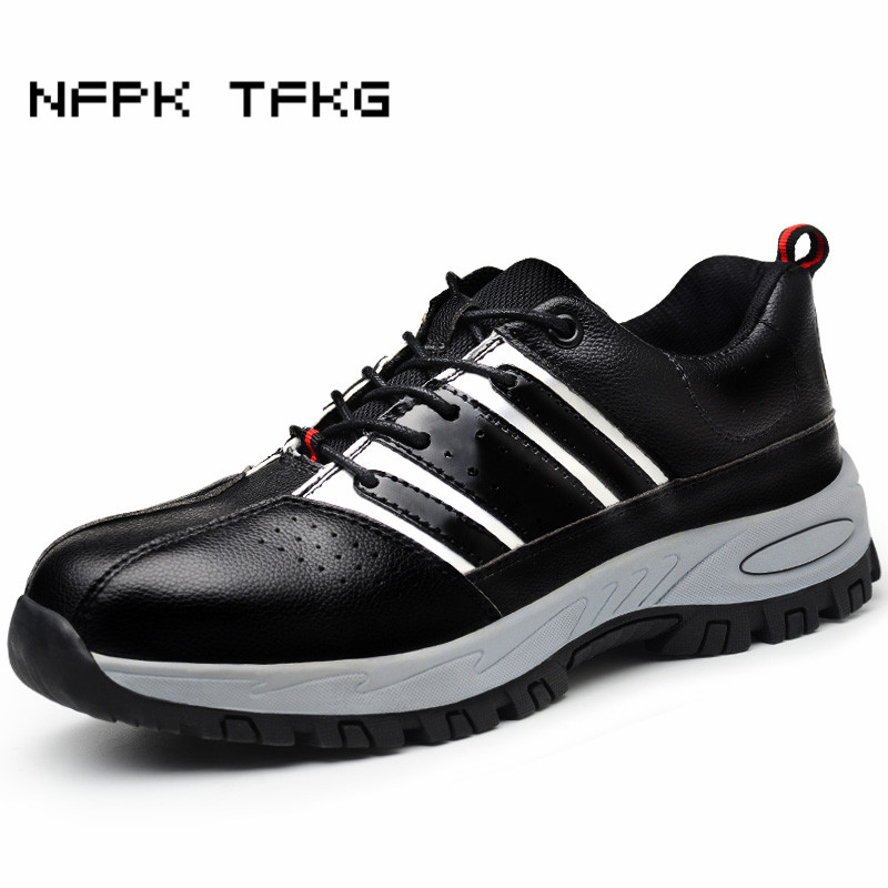 men leisure large size comfort steel toe covers work safety shoes non-slip anti-puncture genuine leather tooling security boots ce certification tigergrip rubber anti slip work shoes s size women protective safety shoe covers lady s kitchen shoes