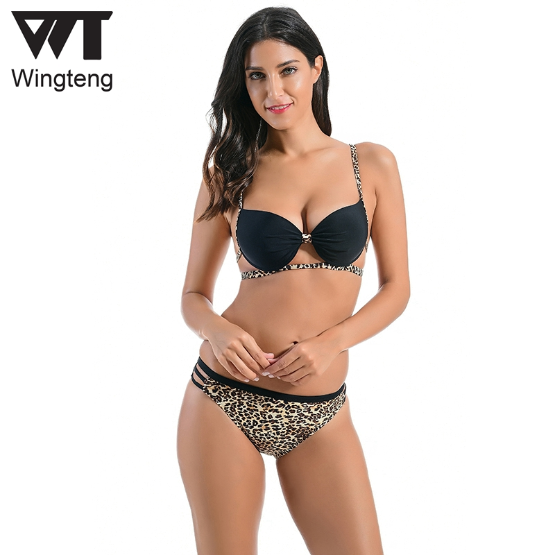 Wingteng 2018 Conjunto de bikini brasileño Leopardo push up Traje de - Ropa deportiva y accesorios
