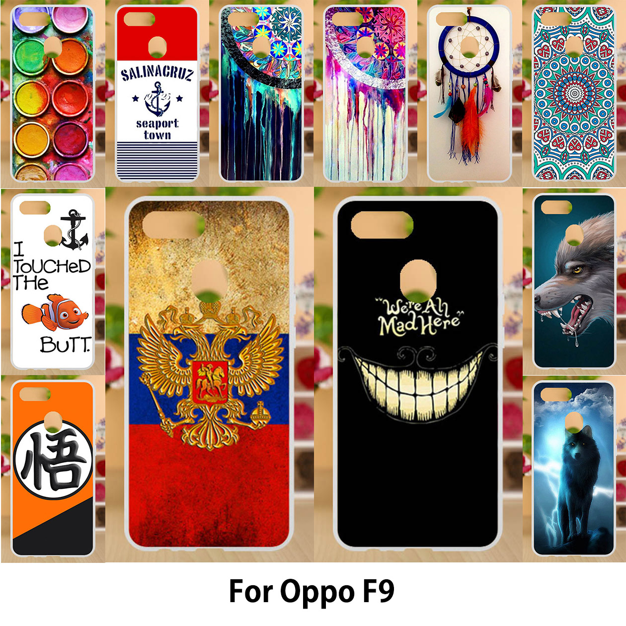 c0e826aad0 Anunob Case For Oppo F9 Cases TPU Soft Silicone Cover For Oppo F9 Pro Covers  Painting Animals 6.3 inch Colorful Smile Bags