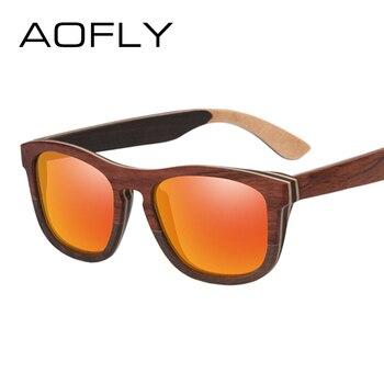 99eb5f5a4 AOFLY BRAND DESIGN Men Sunglasses Polarized Mirror Lens Wooden Sun Glasses  Classic Square Frame Male Oculos de sol ...
