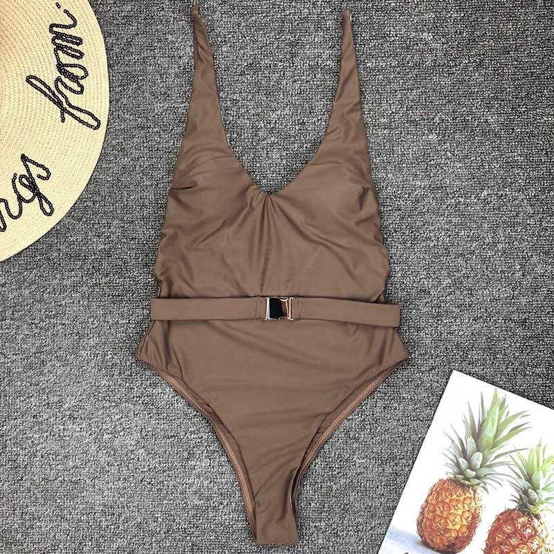 Одноцветный купальный костюм с бретельками, модель 2020 года, сексуальный купальник для женщин, с поясом, с высокой посадкой, пляжная одежда, u-... 19