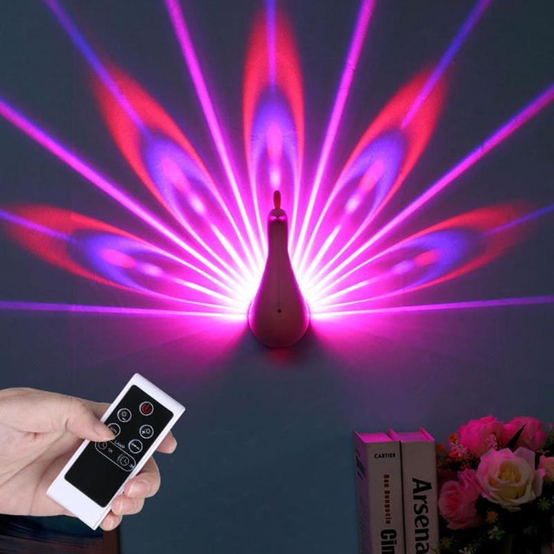 Colorful Peacock night light USB Charging Touch Switch projection wall light LED Bedside Lamp lighting fixture for bedroom