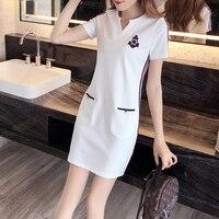 Short Appliques Dresses Pencil Summer Striped Dress Women Bodycon Retro Robe Femme Bige Size Tunic Jurkjes Sundress C0106G