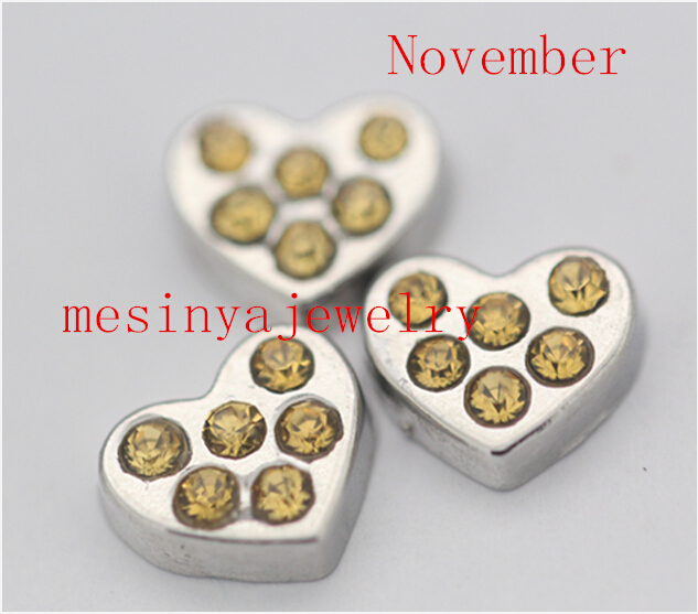 10pcs heart inlay crystal November Topaz floating charms for glass locket Min amount $15 ...