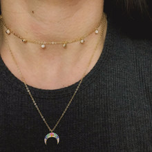 2019 Korea delicate 925 sterling silver charm crescent moon pendant for sexy women Jewelry rainbow cz thin chain Choker necklace(China)
