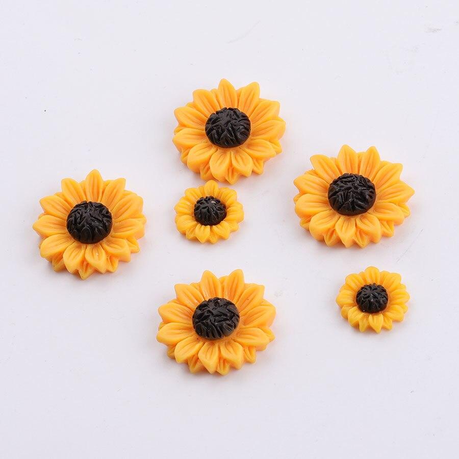 25-50pcs yellow 24mm Daisy Resin Flatback Cabochon ScrapbookIng for phone//craft