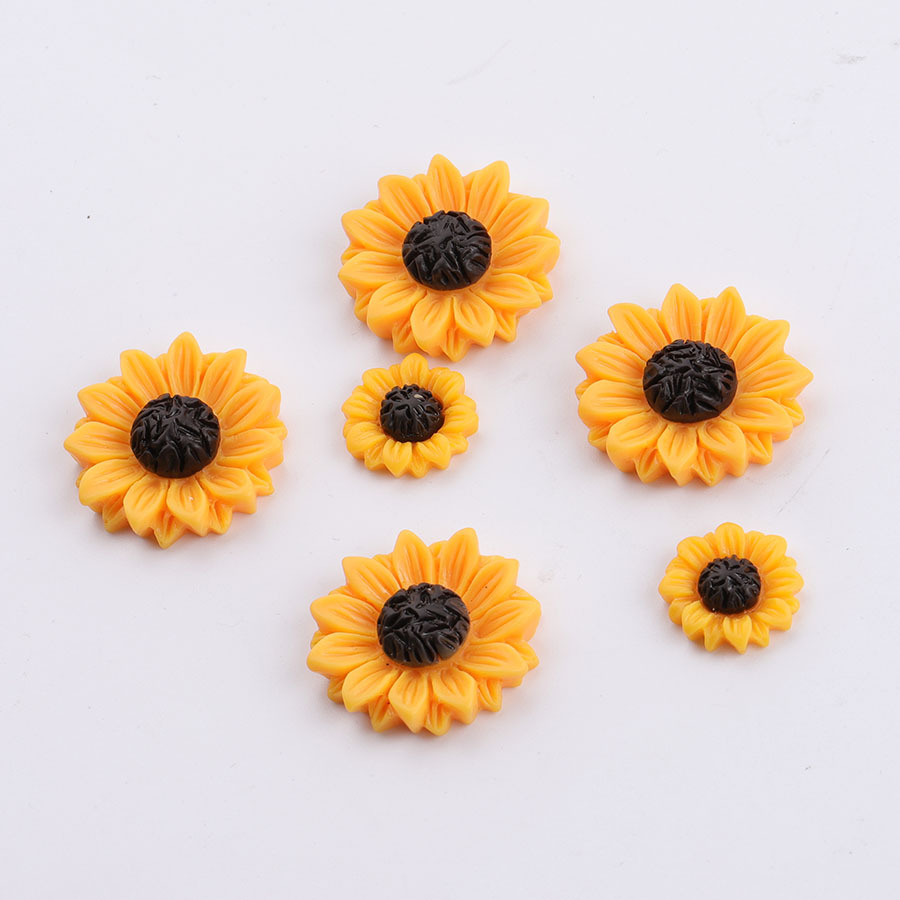 10Pcs/lot Daisy Flower Flat Back Resin Cabochon Scrapbooking Flatback Resin Cabochons For Bows Jewelry Accessories 15/18/25mm