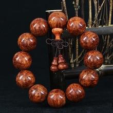 The Old Burma Pear On Hand 2 Beads Full Scar Gall Face Male Bracelet Burma Pear Yellow Sea pear wowo
