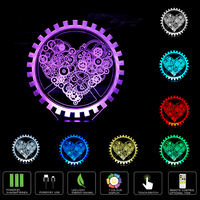Romantic Love Heart Shape LED 3D Table Night Light Touch Remote Control Sleep Night Desk Lamp