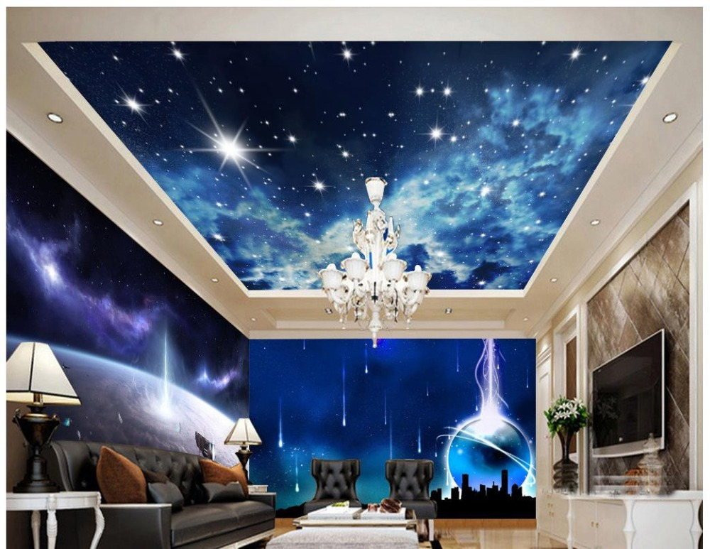Custom 3d Photo Wallpaper 3d Ceiling Murals Wallpaper Science Fiction  Planet Space Background Wall 3d Wallpaper