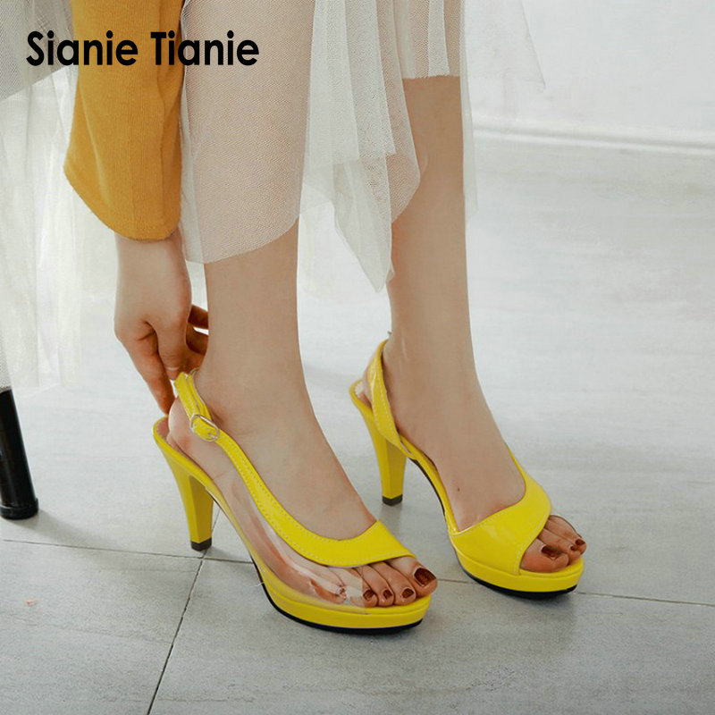 Sianie Tianie 2019 colorful yellow green summer shoes woman spike high heel slingback jelly sandals for women plus size 44 45Sianie Tianie 2019 colorful yellow green summer shoes woman spike high heel slingback jelly sandals for women plus size 44 45