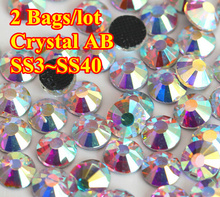 ss6,ss8,ss10,ss12,ss16,ss20,ss30,ss34,ss40 Crystal AB DMC Iron On Glass Rhinestones / Hot fix Crystal Rhinestones