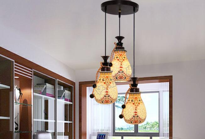Modern new Chinese style hanging lamp ceramic living room dining ...