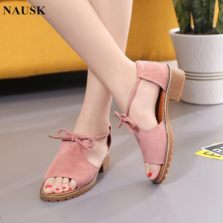 Buckle Sandals Female Roman-Shoes Low-Heeled Thick Summer Brand Solid with Fish-Mouth
