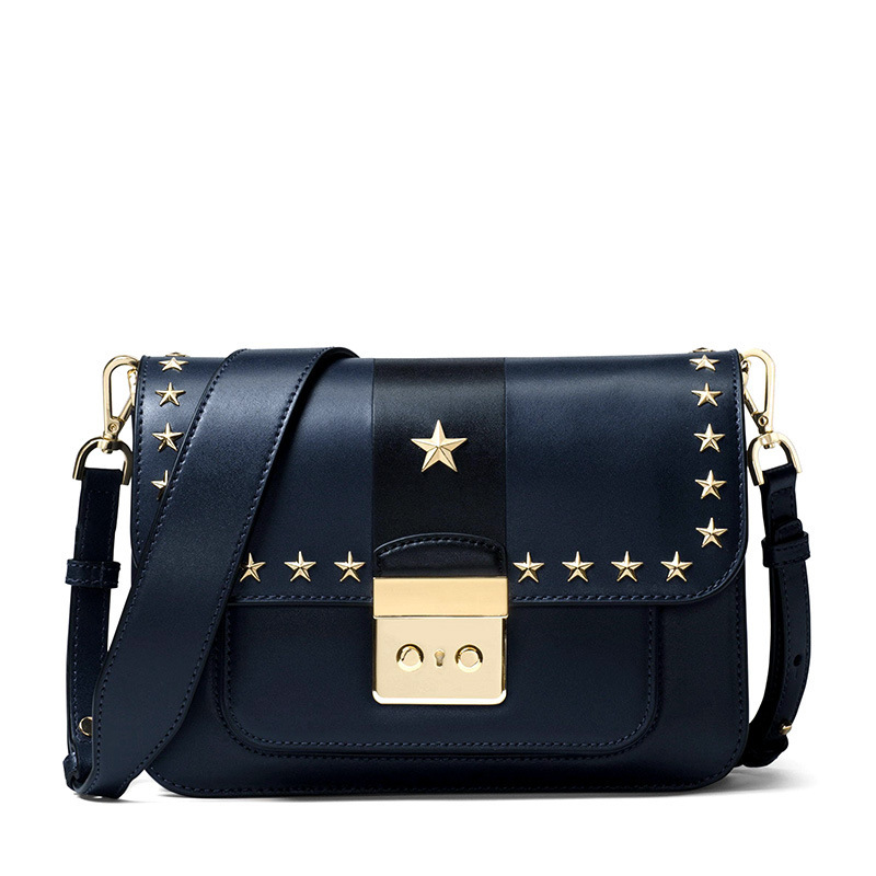 Real Leather Shoulder Bag Women Star Class Rivet Cover Buckle Small Square Bag Famous Brand Design Cool Exquisite Small Satchel stylish women s satchel with rhinestone and rivet design