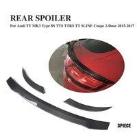Carbon Fibre Rear Trunk Lip Spoiler Wings for Audi TT 8S TTS TTRS TT Quattro SLINE Coupe 2 Door 2015 2017 3PCS/Set