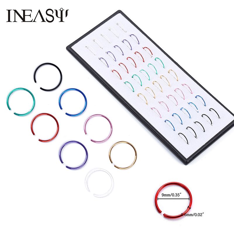 40 st Nose Piercing Ring Fake Septum Body Jewelry Rostfritt stål - Märkessmycken