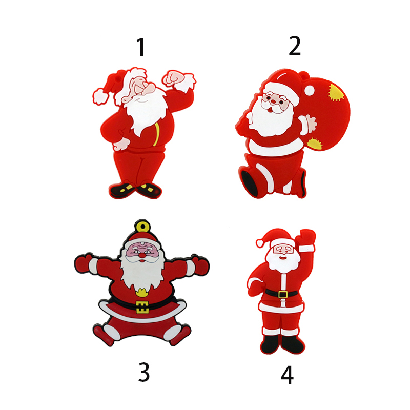 USB Flash Drive 128GB Pen Drive Cartoon Funny Christmas Gifts 4GB 8GB 16GB 32GB 64GB Santa Claus Pendrive